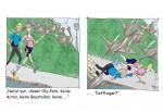 Bauch-Jogger-Oase: Oly-Park, München (Cartoon: Caroline Brösamle)