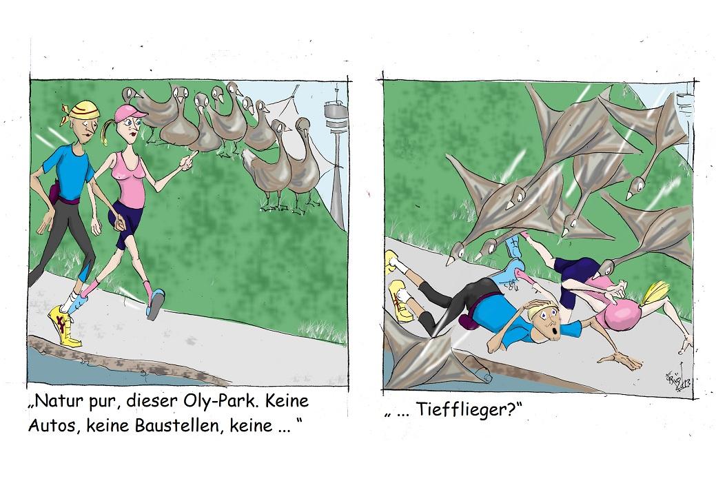 Bauch-Jogging-Oase: Oly-Park, München (Cartoon: Caroline Brösamle)