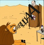 The Place to Pee - My Loo is my Castle: Purros Camp, Namibia (Cartoon: Caroline Brösamle)