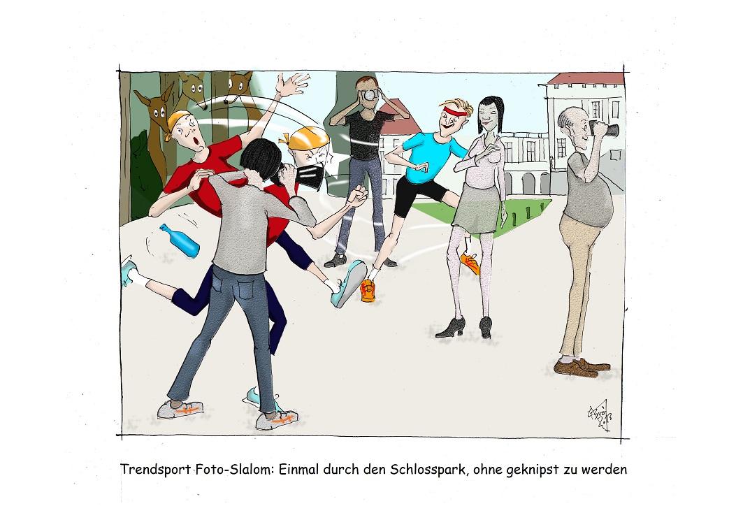 Click, Click, Clickeria: Schlosspark Nymphenburg, München (Cartoon: Caroline Brösamle)
